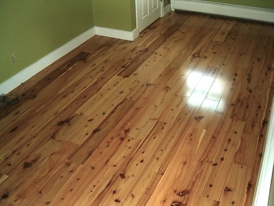 "Photo: A freshly installed pre-finished Australian Cypress floor, 5-1/4"" x 3/4"" solid. Satin finish. © all rights reserved."