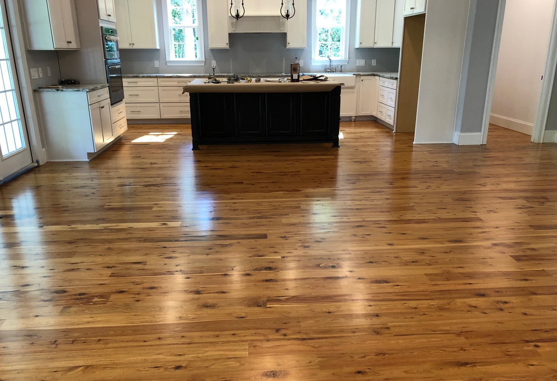 Photo: An installed UNfinished Australian Cypress floor after it has been sanded and varnished. © All rights reserved.