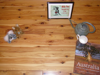 "Photo: Australiana display on 3-1/4"" x 3/4"" pre-finished Australian Cypress flooring.© all rights reserved."